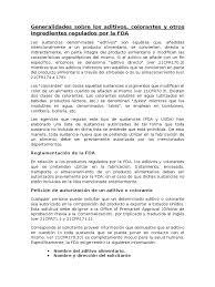 Aditivos Alimentarios Regulados Por La Fda