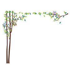 Growth Chart Squirrel Owl Monkey Green Tree Height Chart Decal Removable Wall Sticker