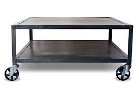 metal coffee table. Custom Made Industrial Modern Square Metal Coffee Table With Casters, Rolling