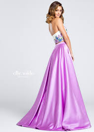 Two Piece Purple Lace Satin Prom Dress Ew117013 Satin Dresses