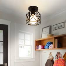 industrial vintage metal cage pendant lamp semi flush mount ceiling light shade 8 8 of 9 see more