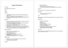 Resume Template Model Resume Sample Free Career Resume Template