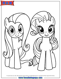 Small Picture Fluttershy And Rarity Coloring Page H M Coloring Pages