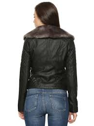 oasis black detachable fur collar faux leather jacket for girls in india