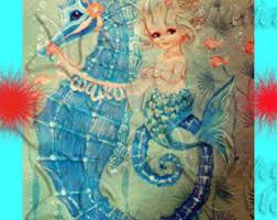 s596 Vintage Art Deco Mermaid Quilt Fabric Block Print Quilts & VINTAGE MERMAID Fabric 1950's Retro Baby Mermaid Quilt Fabric Block Mermaid  illustration merb25. Adamdwight.com
