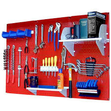 red pegboard and white peg accessories