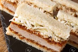 Japanese Katsu Sando Sandwiches With Tonkatsu Sauce And Cabbage.. Stock  Photo, Picture And Royalty Free Image. Image 129699925.