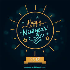 happy new year written in a circle frame free vector