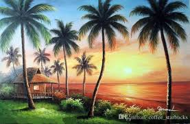 2018 framed hawaii sunset beach house s pacific palm trees pure hand painted seascape art oil painting canvas multi sizes j023 from coffee starbucks