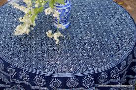 Table Cloth For Round Table Hmong Indigo Batik Cotton Table Cloth 60 75 Or 90 Inches Round