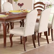 poundex f1399 cream faux leather dining side chair set of 2