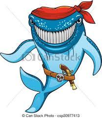 cartoon blue whale pirate in bandanna and gun csp30977413