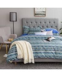 king size duvet sets. Bohemian Duvet Cover Striped Ethnic Boho Reversible Southwestern 400TC Cotton King Size Bedding 3pc Set Navy Sets
