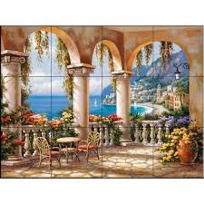 the tile mural terrace arch i 17 in x 12 3 4 in