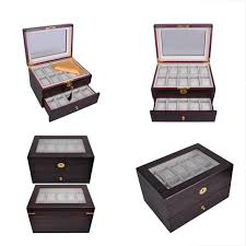 jewelry boxes organizers 20 mens wood watch display case glass top collection