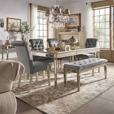 clara silver velvet and antique gold mirrored dining set by inspire q bold 6 piece set table bench and 4 chairs size 6 piece sets