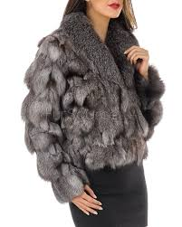 silver indigo exquisitely silky fox fur jacket with roll collar