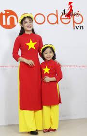 Áo dài cách tân cờ đỏ sao vàng cho mẹ và bé - In áo dài cách tân cờ đỏ sao  vàng đẹp