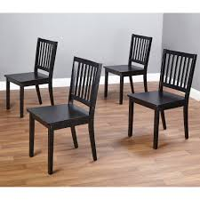dining wood chair set of 4 black kitchen dinette room solid seat basic shaker