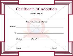 Pet Adoption Certificate Template Pet Adoption Certificate Template Free Resume Examples