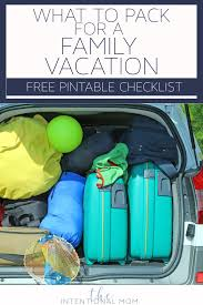 What To Pack For A Family Vacation Free Printable