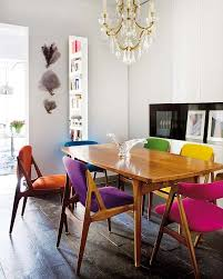 my dining set room furniture is danish modern love the idea of upholstering each chair in a diffe color