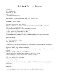 Resumes For Bank Resume For Bank Teller Good Srhnf Info