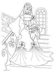 Princess And Her Wedding Dress Coloring Page Super Coloring