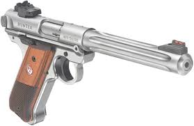 ruger mark iv hunter semi auto pistol 40118 22 lr 6 8 wood grip stainless finish