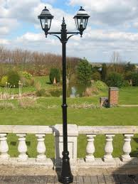 garden post. UK-Gardens Easy To Install 7ft Victorian Double Headed Aluminium Garden Lamp Post Lighting