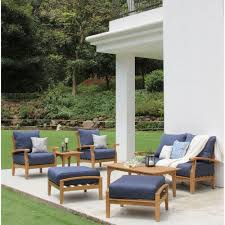 Details about outdoor furniture 7 pc set seating teak patio blue cushions weather resistant