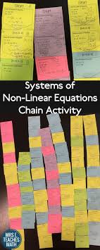 ideas about algebra activities algebra  systems of non linear equations chain activity fun activity for algebra 2 or pre