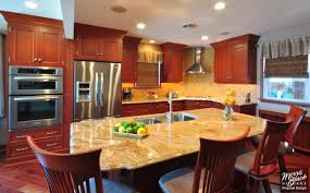 kitchen ideas cherry cabinets. Medium Cherry Wooden Cabinet With Silver Appliances And Laminated Countertop For Kitchen Ideas Cabinets L