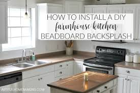 Install Wall Tile Backsplash Magnificent How To Install A Beadboard Kitchen Backsplash Artful Homemaking