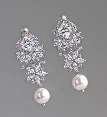 crystal bridal earrings bridal chandelier earrings pearl drop earrings bridal jewelry lisa rp