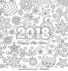 new year congratulation card with numbers 2018 deer and festive objects zentangle inspired style
