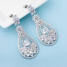 cubic zirconia earrings big chandelier diamond earrings