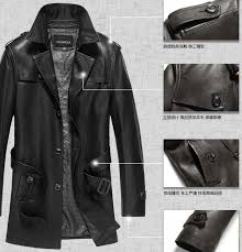 hot 2016 men s genuine leather jacket men clothing medium long trench casual sheepskin leather trench coat