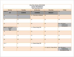 Lesson Plans Calendars 2018 2019 Blank Lesson Planning Calendar