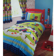 road construction diggers bedding twin duvet cover comforter cover set blue green