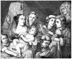 ルーカス Franchois と彼の家族 絵画ヴィンテージの彫刻 ストック