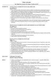 Institutional Marketing Manager Resume Samples Velvet Jobs
