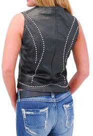 women s studded motorcycle vest