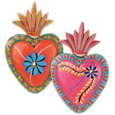 painted tin heart mexican folk art wall plaques set of 2