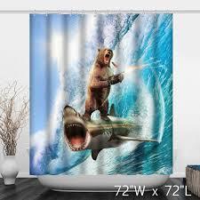 shooting bear ride shark surf shower curtain