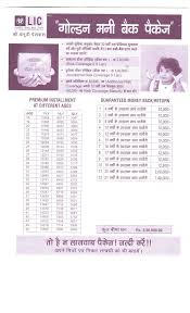 Lic New Bima Gold Policy Chart Lic Golden Money Back Package Lic Policy Enquiry