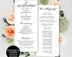 Printable Wedding Program Templates Wedding Program Template Etsy