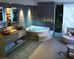 corner jacuzzi bathtub and delectable grey wall tiles of modern bathroom design idea using classy vanity