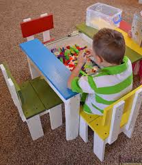 build an easy kids table and chair set with a sliding top to legos