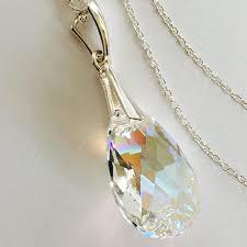 details about sterling silver crystal necklace teardrop pendant swarovski elements blue ab